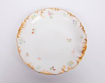 Vintage Haviland Limoges Plate CFH GDM Hand Painted France Heavy Gold Trim 1881-1890 Serving Dish Embossed Rims