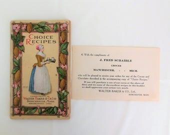 Choice Recipes Copyright 1923 Chocolate Cocoa Home Made Candy Recipes Walter Baker & Company USA