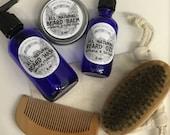Ultimate Natural Beard Grooming Care Kit Gift Set Boar Bristle Beard Brush Scissors Balm Oil Bamboo Comb Bag + Shampoo Wash Gift Wrapped