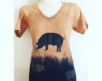 Pig Print Dipped Dyed Tee