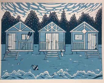 Beach huts linocut print- original print based on Wells Beach , Norfolk UK