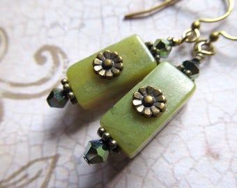 Gypsy Jewelry Turquoise Gold Earrings Olive Green Earrings Bohemian Dangle Earrings Serpentine Earrings Moss Green Earrings- Mother Earth