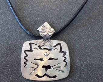 Sterling Cat Face Pendent with Fish Bail on leather cord