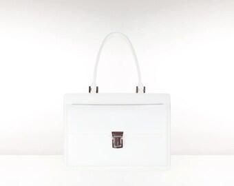 SALE Leather briefcase attache case ARDO // white crossprint saffiano (Italian calf skin) - FREE shipping, unique
