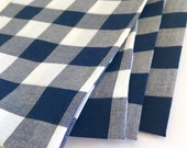 SALE!! Cloth Napkins - Large Navy Blue and White Gingham Cloth Napkins - Buffalo Check - Set of 4 - Dinner Napkins