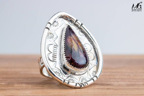 Red and Yellow Labradorite Gemstone Ring in Sterling Silver with Hand Stamped Border