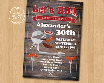 BBQ Men Birthday Party Invitation Digital Printable PDF template, instant download, edit with Adobe Reader DIY,, 30th 40th 50th Grill
