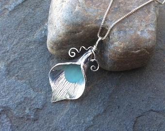 Sea glass jewelry,  Aqua Blue sea glass calla lily necklace