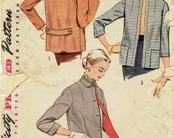 50s Women's Jacket Pattern Simplicity 4176. Box Jacket with Collar and Sleeve Options. Size 14 Bust 32 inches.