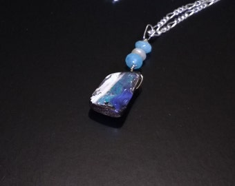 """Boulder Opal Pendant Necklace """" Arctic Ice """" 12.40 Carats ,Aquamarine Beads, White Freshwater Pearl and Sterling Silver Chain"""