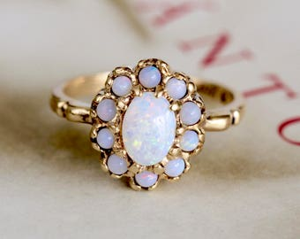 Victorian Revival Opal Halo Ring, 1950s Opal Cluster Ring, Vintage Opal Yellow Gold Ring, Opal Anniversary Ring, Alternative Engagement Ring