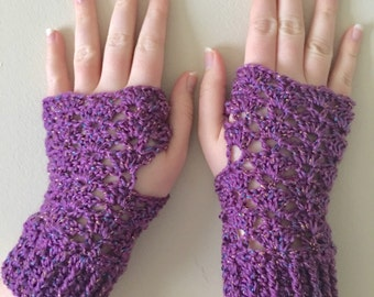 READY TO SHIP Fingerless Gloves - Wrist Warmers for Women/Teens - Mauve Sparkle