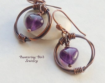 Amethyst Heart Earrings, Antiqued Copper Hoops with Purple Gemstone, Unique Artisan Wirewrapped Copper Jewelry, February Birthstone
