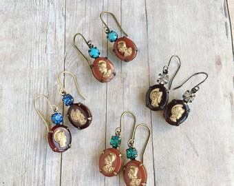 Vintage Roman Warrior Earrings Italy Italian Jewelry