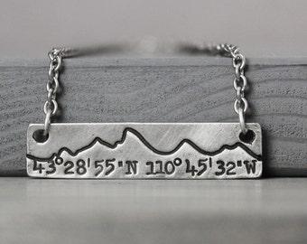 Tetons Coordinate Necklace, Mountain Necklace, Jackson Hole Necklace, Mountain Range, Mountain Jewelry, Rustic Jewelry, Rustic Necklace,