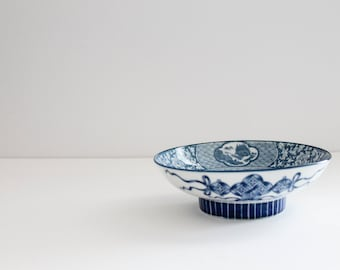 Vintage Asian Chinoiserie Blue and White Decorative Bowl
