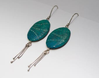 green funky earrings, cute tassel earrings, unique modern jewelry, leaf dangle earrings, emerald green earrings, gift for girlfriend