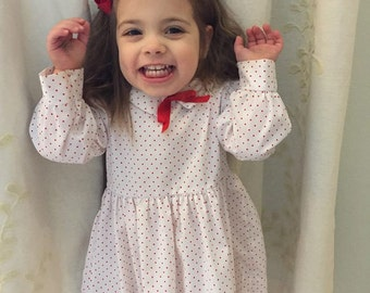 vintage valentines day polka dot collared dress