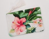 Pink Hibiscus & Greenery Palm Leaf Zipper Pouch Bridesmaid Gift Monogram