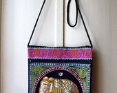 Vintage embroidered elephant shoulder bag with sequins / hippie crossbody bag / colourful festival bag / 1990s embroidered purse