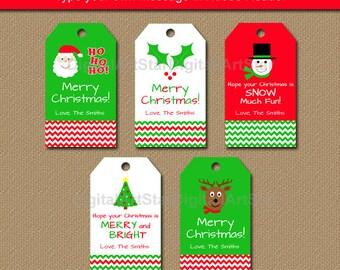 Printable Christmas Gift Tags - Editable Christmas Party Favor Tags - Holiday Gift Tags - Wine Bottle Tags - Christmas Hang Tag Download C4
