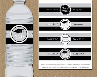 Silver & Black Graduation Water Bottle Wraps, Class of 2017 Water Bottle Labels, Printable Graduation Party Decorations Instant Download G2