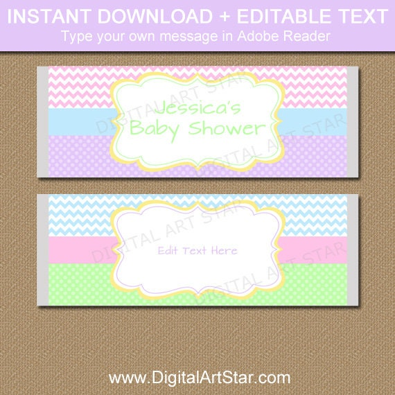 Pastel baby shower candy wrapper template spring wedding for Candy bar wrappers template for baby shower printable free