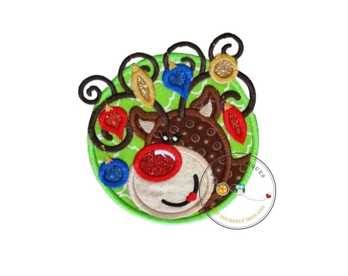 Rudett Christmas lights tangled reindeer machine embroidered fabric iron on no sew patch, holiday patch for kids clothing