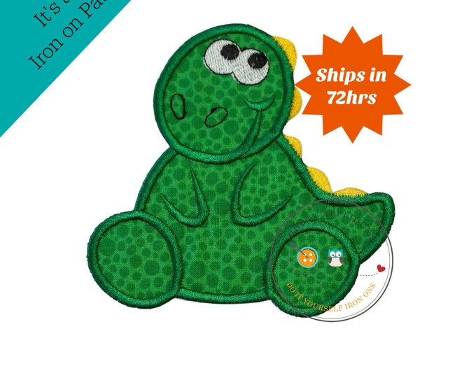 Green iron on dinosaur applique, big iron on green dino patch, gleeful dinosaur patch with embroidery details, for boy or girl