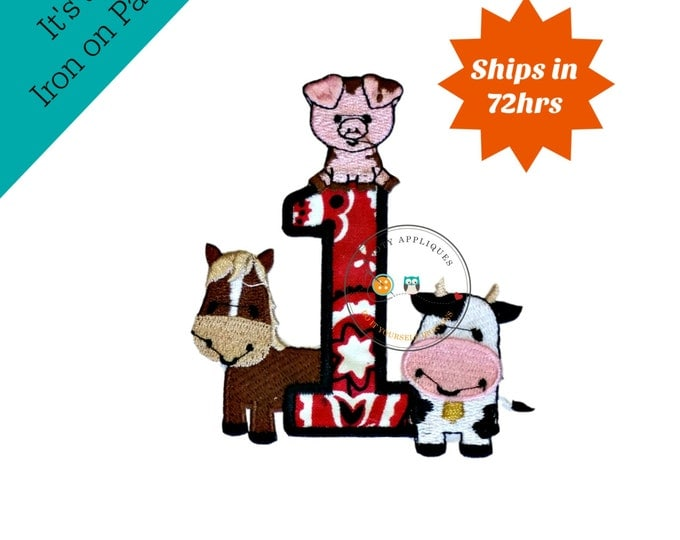 Bandanna number one with farm animal machine embroidered fabric iron on no sew patch,  Barn yard patch for kids clothing