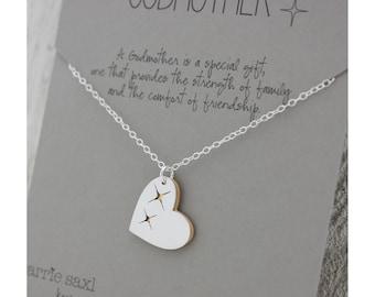 Godmother necklace - Godmother Gift - baptism gift - christening gift - godchild - will you be my godmother - godmother heart - godparents