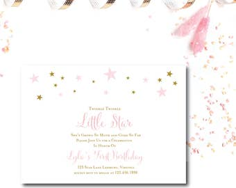 Twinkle Twinkle Little Star 1st Birthday Invitation - Pink or Blue -  5x7 Birthday Invitations - Printed or Printable - Free Shipping