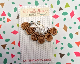 Owls Stitch markers set, snag free stitch markers. Cute wooden owls stitch markers for knitting. Snag Free Stitch markers
