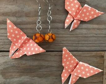 dangle orange glass earrings