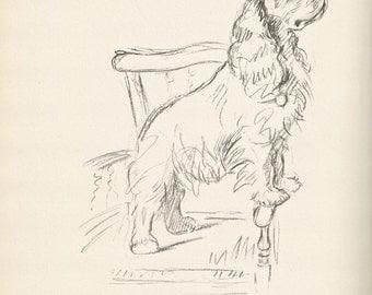 Antique Dog Print, Lucy Dawson Puppy Print, cocker spaniel, Wall Art, Antique Decor, Interior Design, 1930s Home Decor, Dog Decor, B-3