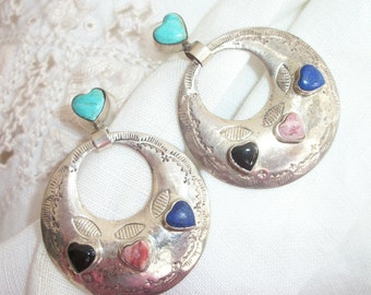 Sterling Silver ~ Earrings ~Turquoise / Multi Stone Hearts / Heart ~ Vintage Hoop Dangles ~ Pierced Post ~ Etched Design  ~ 925