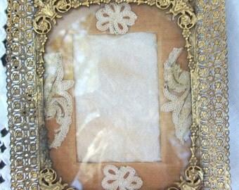 Vintage Fancy Filigree Frame / Glass  ~ Feminine Darling Decor ~ Gold Tone ~ Flowers / Ribbon Scroll Top ~ Nice interior