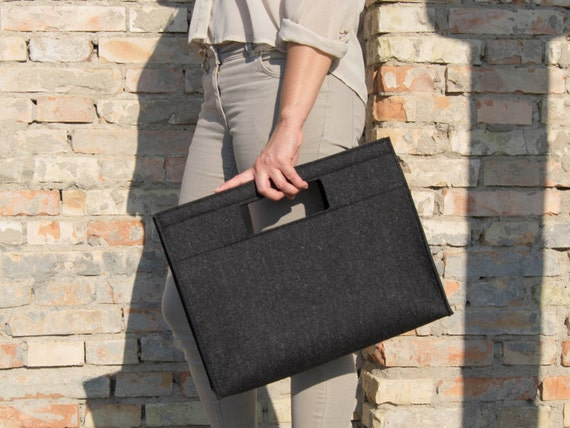40% OFF - Wool Felt HANDBAG / black bag / black handbag / charcoal bag / wool felt bag / minimalist bag / made in Italy