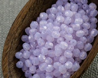 Milky Purple Fire Polished Czech Glass Bead 4mm (50) Round Polish Faceted Pastel Pale Lavender
