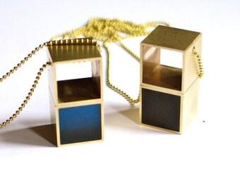 Cube brass necklace, Brass Jewelry, modern jewelry, cube, contemporary, geometric, raw brass, resin jewelry