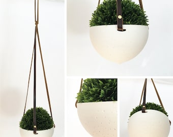 One-Off Hanging Planters in Ceramic and Recycled Leather