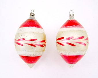 German Christmas Ornaments Vintage Glass Teardrop Christmas Decorations 1950s Red