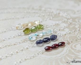 Gemstone bar layering necklace, rose gold filled, sterling silver, citrine, peridot, iolite, garnet, dainty simple genuine gemstone bead bar