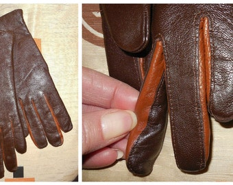 Unworn Vintage Gloves Two Tone Brown Soft Leather Warm Fabric Lined sz 7 Rockabilly Mod Mid Century