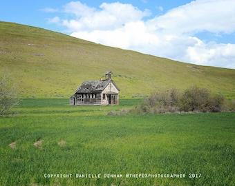Landscape Photograph | Abandoned Building | Oregon | Old Schoolhouse | Abandoned Oregon | One Room Schoolhouse | Eastern Oregon