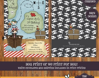Pirate Invitation - Pirate Party printable - Pirate Birthday Party invitation - pirate ship - treasure map - treasure chest - Item 0146