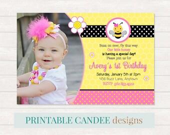 Pink Bee Birthday Invitation - Bumble Bee Invitation - Bee Birthday - Bee 1st Birthday - Girl Bee Birthday - DIY Custom Printable