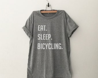 Bicycle gift shirt sports t-shirt women graphic tee eat sleep bicycling screen print shirt women funny tshirts mens tshirt