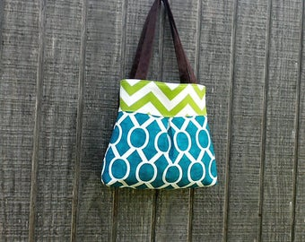 Pleated Handbag Tote  in Blue and Green Chevron
