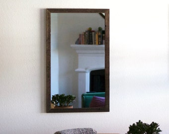 18 x 30 Wood Framed Mirror - Rustic Modern - Thin Frame - Reclaimed Wood - Hurd & Honey - Mirror - Wood Mirror